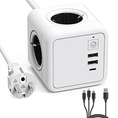 PURETOP Regleta Enchufe con USB de 4 Tomas(3680W/16A) con 2 USB A Puertos(10W) y 1 USB C Puerto(15W) con Protección de Sobrecarga Para el Hogar, la Oficina y los Viajes, Pequeños Electrodomésticos