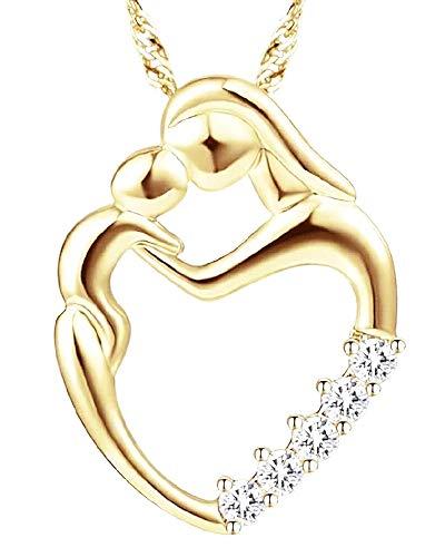 Vrouwelijke ketting - vrouw - klein hart - kind - moeder - lichtpunten - zwangerschap - moederschap - goud - juweel - origineel cadeau-idee strass