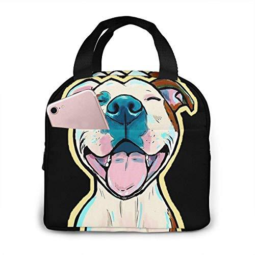 Cartoon Pit Bull Smile Lunch Bag Reutilizable caja de asas de refrigerador aislado con cierre de cremallera de bolsillo frontal para mujer hombre trabajo Pinic o viaje