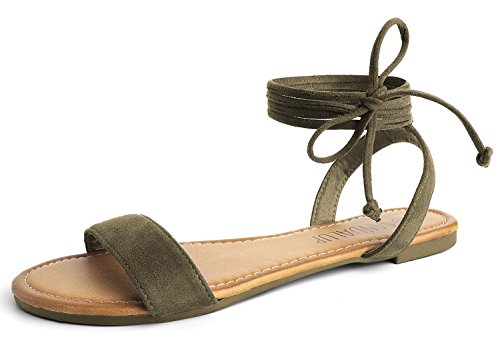 SANDALUP Tie Up Ankle Strap Flat Sandals for Women Khaki Green 08