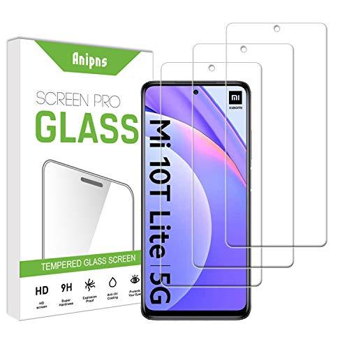 Anipns 3 Piezas Protector de Pantalla para Mi 10T Lite/Mi 10i/Redmi Note 9 Pro 5G, Vidrio Templado, Antiarañazos, Antihuellas, Sin Burbujas, Dureza 9H HD Film Cristal para Mi 10T Lite/Mi 10i