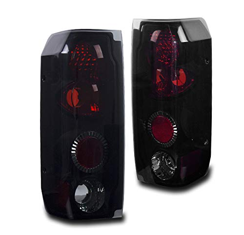 ZMAUTOPARTS Tail Brake Lights Rear Lamps Black/Smoke Compatible with 1987-1996 Ford F-150 F-250 F-350/1989-1996 Bronco