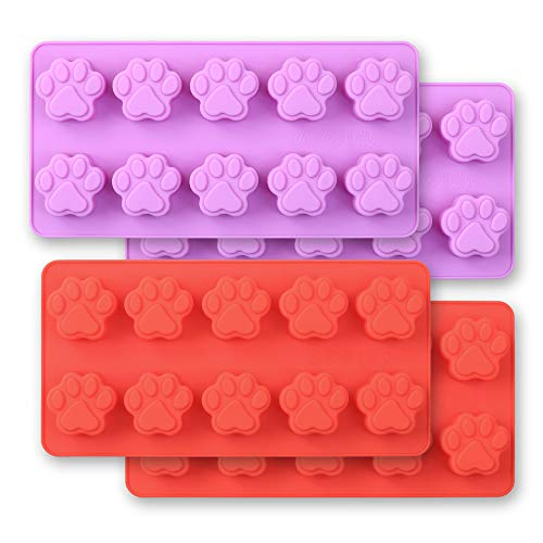 Cozihom - Stampi in silicone a forma di zampa di cane, 10 cavità, grado alimentare, per cioccolato, caramelle, torte, budini, gelatina, 4 pezzi