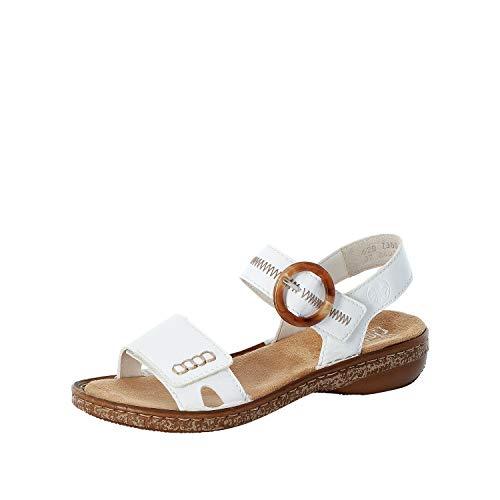 Rieker DAMES Sandalen 628Z3, Vrouwen Strappy Sandalen,sandaal,zomerschoen,zomersandaal,comfortabel,vlak,Wit (weiss / 80),38 EU / 5 EU