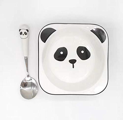 Creative Dibujos animados de vajilla de cerámica, niños, niños, comedor, placa, cuenco, suplemento alimenticio de alimentos-Panda Cuadrado Panda Bowl + Cuchara