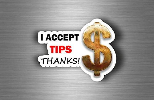 sticker ik accepteer tips shop restaurant koffie tip thanks decal service