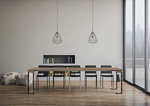 Itamoby Tecno Small Walnuss & Anthrazit ausziehbare Konsole 90 x 77 x 40 cm (ausziehbar bis 196 cm)