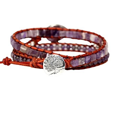 Crazyfly Pulsera para mujer, 7 pulseras de chakras, cuentas de piedra natural, para joyas de muñeca con piedra energética, decoración de estilo étnico, regalo para niñas y mujeres