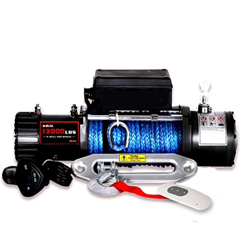 X-BULL 12V Waterproof Synthetic Rope Winch-13000 lb. Load Capacity IP67 (Black)