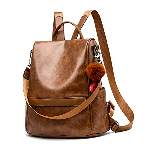 Women Backpack Purse PU Leather Anti-theft Casual Shoulder Bag Fashion Ladies Satchel Bags(Tan)