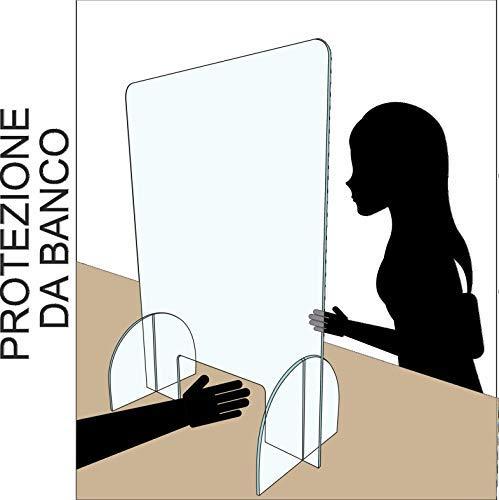 Regalami.Shop, Parete divisoria per la Sicurezza in Vero plexiglas extratrasparente, parafiato, parasputi, passasoldi, barriera, cm. 60x43