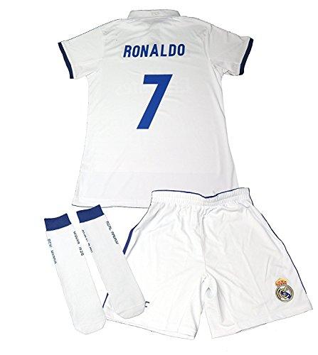 REAL MADRID- Kit 1ª Equipación Infantil 2016-2017 Réplica Oficial Cristiano Ronaldo- Talla 8 años