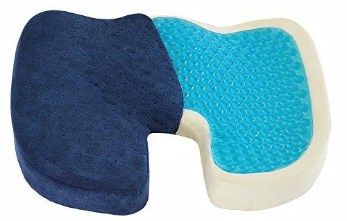 Orthopedisch zitkussen, traagschuim met gel-coating, cool gel ter ontlasting van het stuitbeen bij rugpijn, zitkussen, kantoor, zwangerschap, reizen en auto