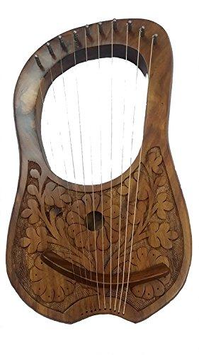 Harfe aus Palisander, Winkelgravur, aus Echtholz und 10 Metallsaiten, hochwertige Harfe, Musikinstrument für Anfänger, Kinder, Erwachsene