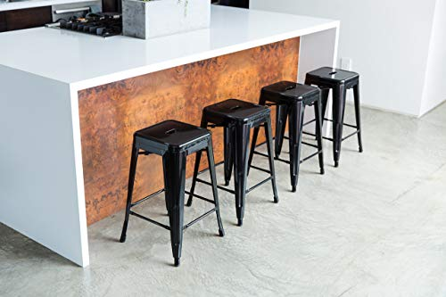 UrbanMod 24 Inch Bar Stools for Kitchen Counter Height, Indoor Outdoor Metal,Rustic Gunmetal. 4 ✅PERFECT FOR KITCHEN OR OUTDOOR, HOME OR BUSINESS! LOVE THEM OR WE'LL SEND YOUR MONEY BACK! -Tired of wobbly stools that just look cheap? Ready for some modern, stable, sleek counter stools for your home or business? No more cheap, wobbly barstools! ✅THE ONLY SUPER DURABLE, MODERN, PERFECT-HEIGHT COUNTER STOOLS WITH A LIFETIME WARRANTY! -Most imitators are too short or don't quite fit right! Those hold only 200 lbs, our holds up to 330 lbs…and safe for both inside and outside! These are perfect. ✅ PERFECT FOR YOUR BAR/RESTAURANT (STACKABLE), AT HOME, OR YOUR GARAGE! NOTHING ELSE COMPARES -Don't price shop; imitators are cheap & uncomfortable. You're ready for your breakfast bar, kitchen, or shop to have sleek, strong stools, right?