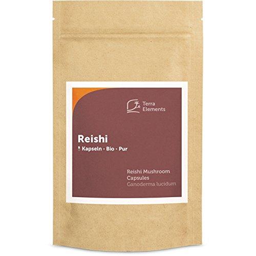 Terra Elements Bio Reishi Kapseln (400 mg, 150 St) I Ling Zhi I Ganzer Fruchtkörper I 100% rein I Vegan I Rohkost