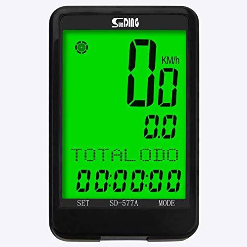 SUNDING SD-577A Tachometer mit Kabel für Fahrrad und ATV - Kilometerzähler Stoppuhr Bike Tachometer Kilometerzähler und zahlreiche andere Funktionen - Mehrsprachig (Schwarz)