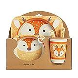 icycheer ensemble de vaisselle pour enfants 5pièces en fibre de bambou avec joli motif d'animal mignon en dessin animé gobelet, bol, cuillère, fourchette