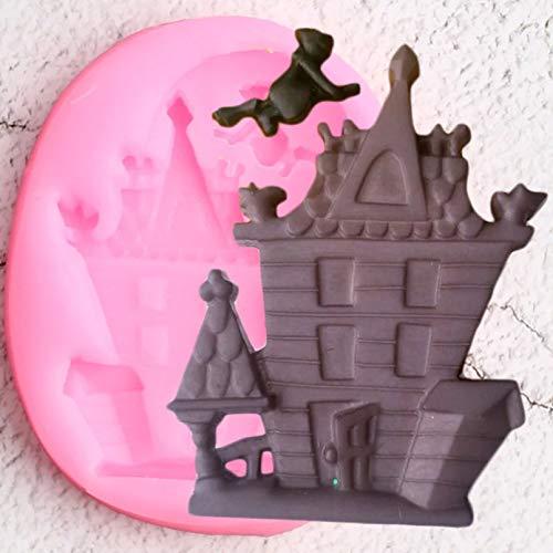 CSCZL Moldes de Silicona para casa encantada, decoración para Cupcakes de Halloween, Fondant, Caramelo, Chocolate, casa Fantasma, Galletas para Hornear, Herramientas de decoración de Pasteles