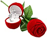 I Jewels Women's Silver Plated AAA CZ Adjustable Ring Jewellery with Velvet Red Rose Gift Box and Valentine's Special Greeting Card (S001-FL156COCA)
