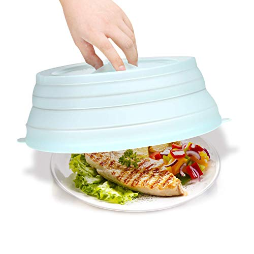 Microwave Splatter Cover BPA-Free Microwave Cover For Food Collapsible Microwave Plate Cover With Steam Vent 10.5 inch Silicone Microwave Cover,Easy Grip, Mint Green