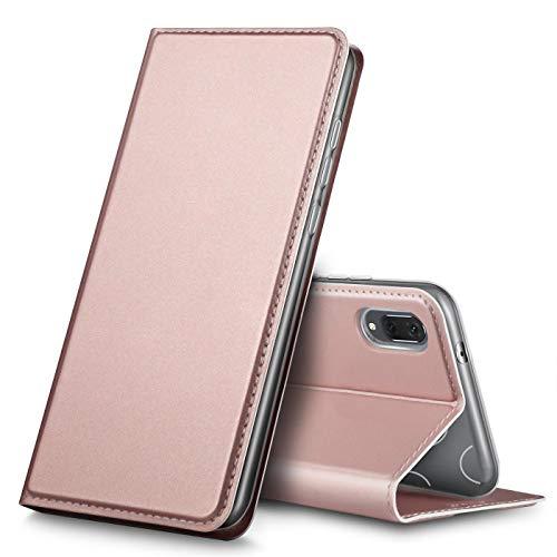 Verco Handyhülle für Y6 2019, Premium Handy Flip Cover für Huawei Y6 (2019) Hülle [integr. Magnet] Book Case PU Leder Tasche, Rosegold