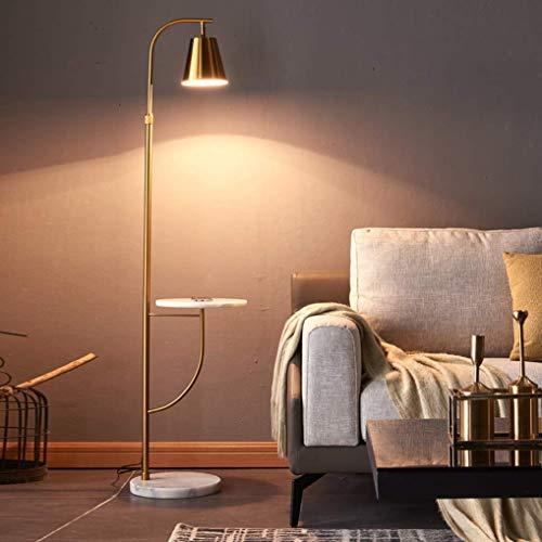 Lámpara de pie para sala de estar, lámpara de pie de hierro forjado E27 con mesa de centro de mármol, lámpara de lectura para dormitorio, altura y sombra ajustables, para iluminación de decoración int