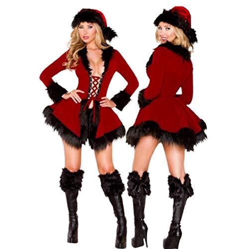 FENGLI Disfraz de Papá Noel para mujer, falda roja, sexy, con sombrero, vestido sexy, talla única para la mayoría, disfraz de cosplay para fiesta de Navidad (color: negro)