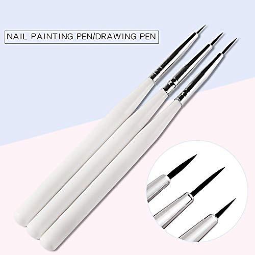 Z.L.FFLZ Set Nail Clippers 3pcs / Set Poignée Blanc Noir Nail Liner Pinceau Bricolage Ongles Peinture Dessin Pinceau manucure Nail Art Outil