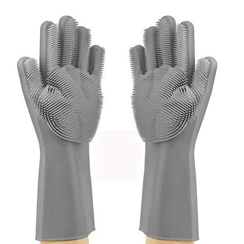 YesDone Multifunctionele Siliconen Warmte-isolatie Magnetron Oven Handschoenen Schoonmaken Handschoenen Afwashandschoenen - grijs