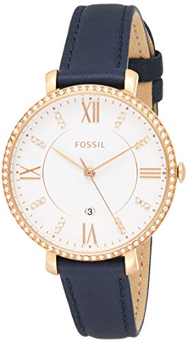 Fossil Women's Jacqueline Stainless Steel Quartz Watch with Leather Calfskin Strap, Blue, 14 (Model: ES4291)