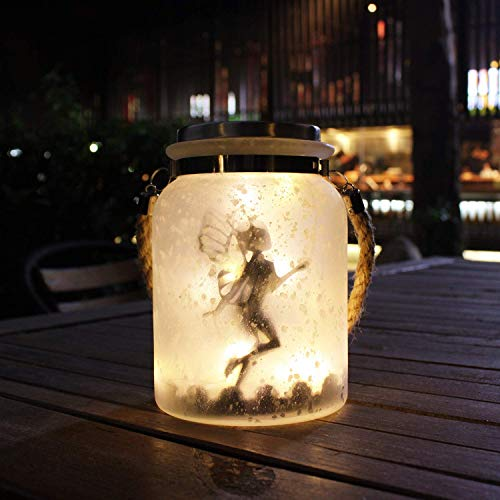 Kaixoxin Solar Lantern Fairy Lights Ideal for Great Gifts White Frosted Glass Hanging Jar Solar Lights Outdoor Decorative 20 Warm White Mini LED String Lights (Fairy)