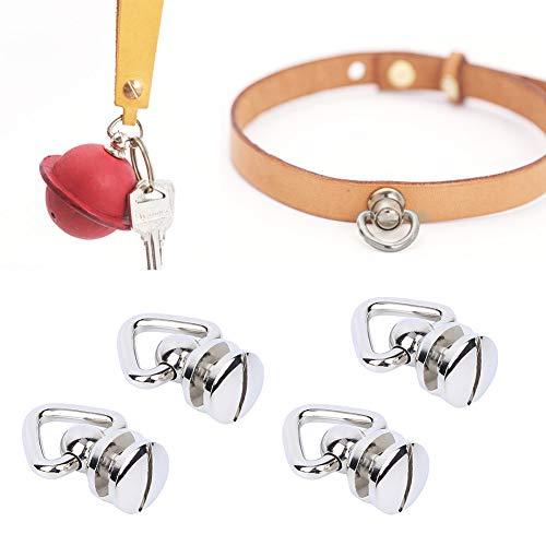 4 Uds tornillo de anillo de Metal tachuelas de cabeza redonda remache hebilla de cuero giratoria con clavos de anillo accesorios de hardware para manualidades de cuero DIY(Silver)