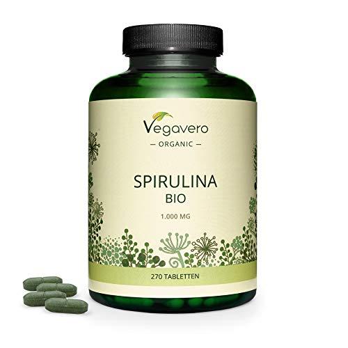 Lífræn Spirulina Vegavero® | Stærsti skammtur: 1000 mg á töflu 100% náttúruleg og án aukefna | Klórófyll + Phycocyanin | Andþreyta + Andoxunarefni | 270 spjaldtölvur | VEGAN