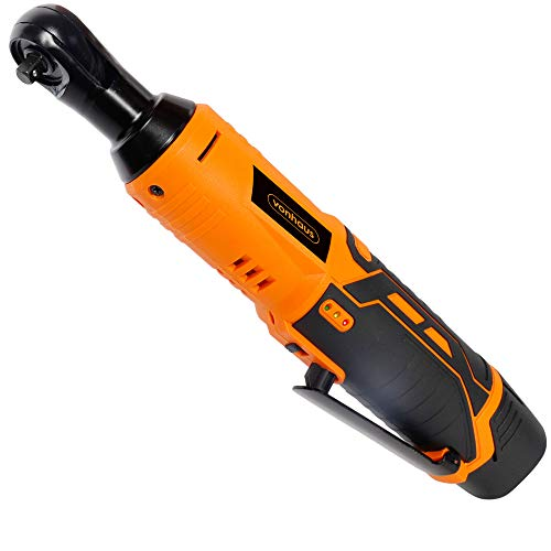 VonHaus Cordless Electric Ratchet Wrench Set with 12V Lithium-Ion Battery and Charger Kit 1/4' Drive