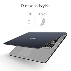"ASUS VivoBook Pro Thin & Light Laptop, 17"" Full HD , Intel i7-8550U Processor, 16GB RAM, 256GB SSD + 1TB HDD, NVIDIA Gaming GeForce GTX 1050,Backlit Keyboard, Windows 10, Star Gray, N705UD-EH76"