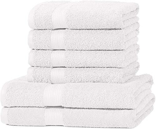 AmazonBasics - Juego de toallas (colores resistentes, 2 toallas de baño y 4 toallas de manos), color blanco
