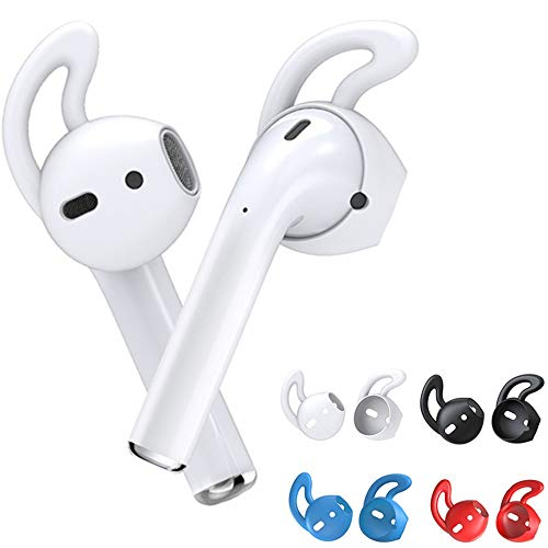 MRPLUM Ear Hooks Silicone Earbuds Covers Accessories Anti-Slip Earbuds Compatible with EarPods Headphone Earphone 8 Pairs (White-1)