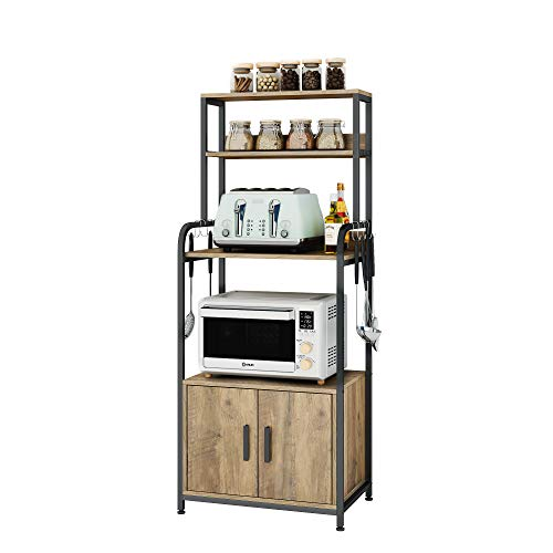 HOMECHO Microwave Oven Stand, Microwave Oven Cabinet Kitchen Storage Cupboard Sideboard with 2 Doors, 3 Tier Vintage Storage Baker's Rack with 8 Hooks, for Kitchen, Living Room, Brown, 60x40x149cm