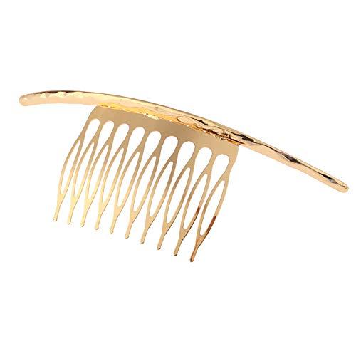 YAZILIND Diseño Simple Inserciones Elegantes Pinza de Pelo Accesorios para el Peine de Cola de Caballo para Mujer Damas Pinza de Pelo Tocado Dorado