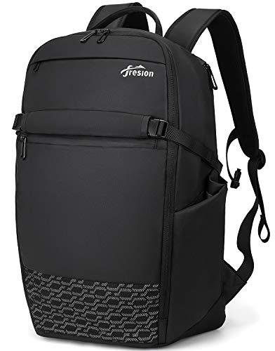 Fresion 17,3 Laptoprugzak, heren en dames, zakelijke reisrugzak, daypacks, reis-rugzak, 29 - 37 liter, uitbreidbaar, schoolrugzak, notebookrugzak, waterafstotend, laptop, backpack, vliegen, handbagage, rugzak, zwart