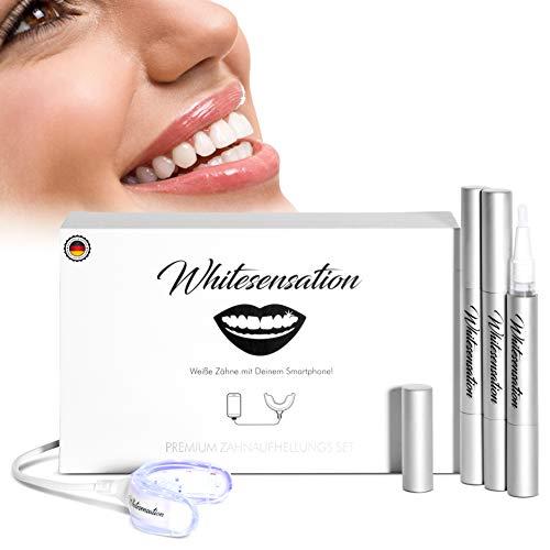 Whitesensation© Zahnaufhellung zum Zähne aufhellen [NEUSTE FORMEL] | Zahn Bleaching Set für weiße Zähne | Gegen Gelbe Zähne & Verfärbungen | Teeth-Whitening Kit zum Zähne bleichen | Bleaching Zähne