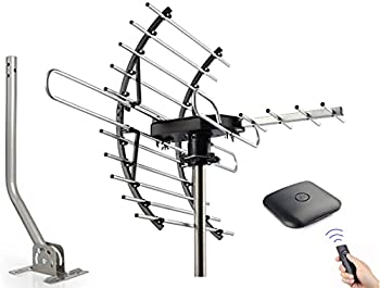 PBD Digital HDTV Antenna Amplified Attic/Outdoor Antenna 360 Degree Rotation Wireless Remote 4K 1080P VHF UHF Mounting Pole Included
