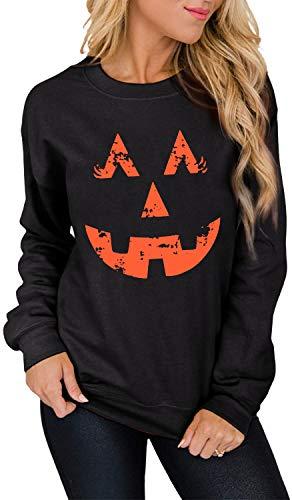 SFHFY Pumpkin Face Halloween Sweatshirt Women Easy Costume Fun Shirts Long Sleeve Fall Winter Pullover Tops (Black, M)
