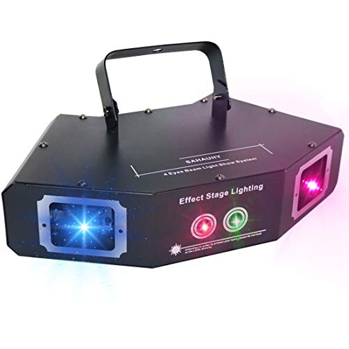 DJ Lights,SAHAUHY Four Beam Effect Stage Light RGB Sound Activated Pattern Party Lights By DMX Control Strobe Light for Birthday Friend Party Disco Dancing Bar Club