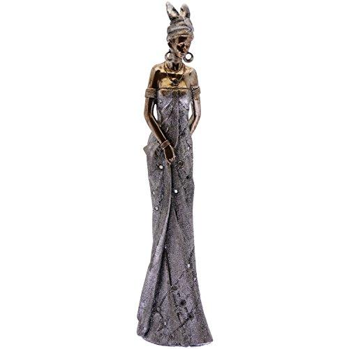 Supernova Decoracion Statuetta africana resina finitura argento/oro Collezione _ 10x 7x 40cm