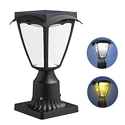 LOVUS Outdoor Solar Post Light Fixtures, Exterior Post Lantern with Pier Mount Base Dusk to Dawn, Two Lighting Modes Include Warm Light/White Light (Black)