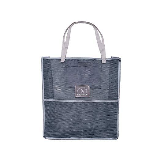 Bolsa grande y moderna para la compra, bolsa ecológica para frutas y verduras, bolsa de alimentos, reutilizable, bolsa de almacenamiento de malla para colgar - dos piezas (gris)