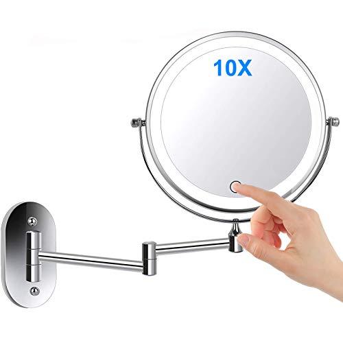 Namotu Miroir Grossissant Lumineux Mural x10, Miroirs de Maquillage Miroir Salle De Bain 7 Pouces Miroir Mural Double, Pivotant et Extensible à 360 °, Alimenté par 4 Piles AAA(Non Inclus)