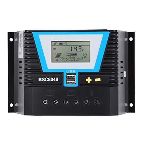 Jeankak Controlador De Carga Solar, Actualizado Regulador De Carga del Panel Solar con LCD Retroiluminada, 80A Regulador Inteligente De BateríA De Panel Solar para BateríA - 12V / 24V / 36V / 48V